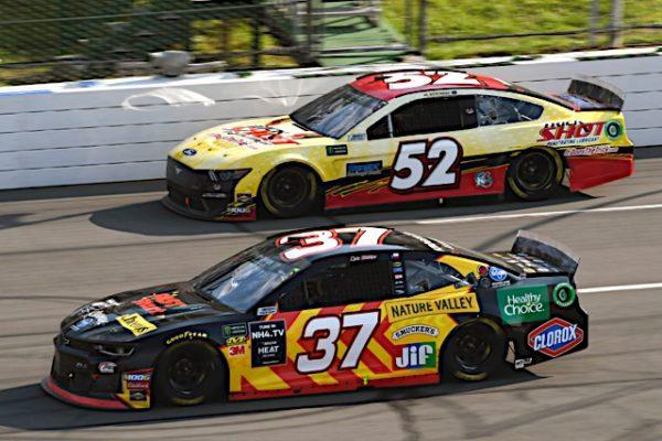 #37: Chris Buescher, JTG Daugherty Racing, Chevrolet Camaro Kroger Fast Start, #52: Austin Theriault, Rick Ware Racing, Chevrolet Camaro TRICK SHOT / BANGOR SAVINGS BANK